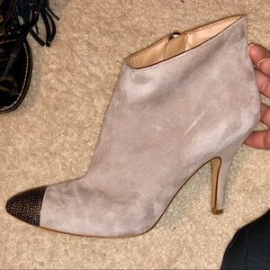 Zara Silver Toe Suede Taupe Ankle Boots Sz 39